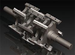 plastic granulator machine rotor blades 3D rendering