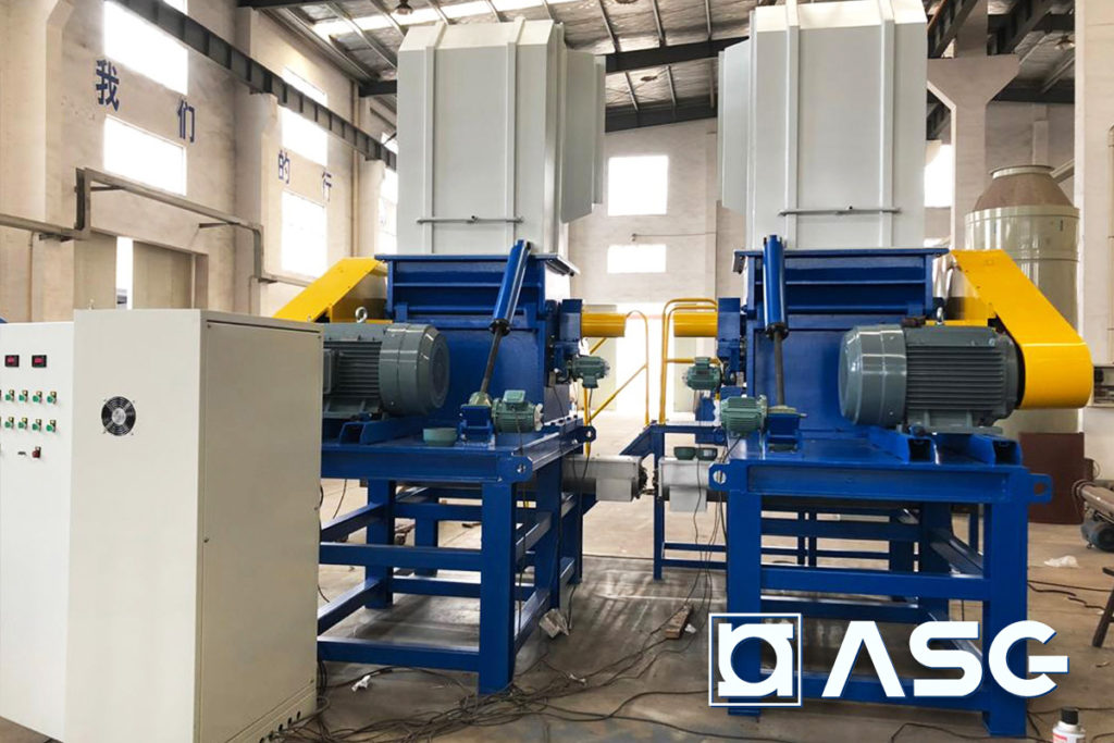 plastic granulator machines back view with control cabinet
